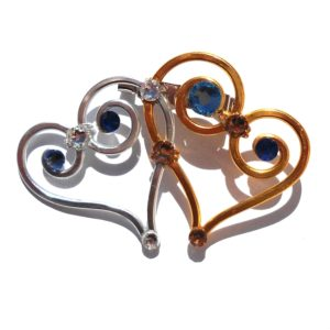 Double Heart Brooch Mystique Mix