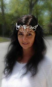 Elvish Queen Stephanie Wearing Our Elf Runes Circlet Silver Crystal Ice