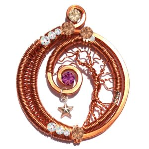 Tree of Life Wire Wrapped Crescent Moon Copper Sunset