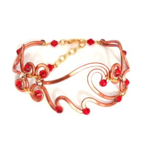Phoenix Flames Bracelet Copper Ruby Long